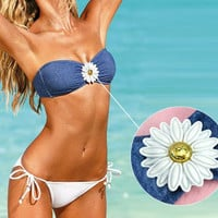 White Blue Floral Woman Designer High Fashion Poolside Beach Party Bathing suit Beachwear Swimwear Swimsuit Bikini hot style  = 6095980931