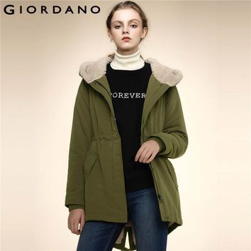 Giordano Women Jackets Solid Quilted Coat Fur Trim Mid-long Jackets Winter Coats Outerwears Warm Famous Brand Clothing Femme
