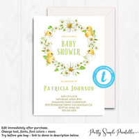 Spring Baby Shower Invitation, Gender Neutral, Floral, Yellow, Watercolor, Download, Invitation Template, Templett, Editable, Invite, CHC1