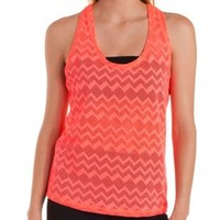 Coral Chevron Crochet Active Tank Top by Charlotte Russe