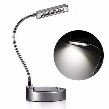 Flexible Gooseneck Style 0.3W 4LED Solar Table Lamp USB Power Bank Charger