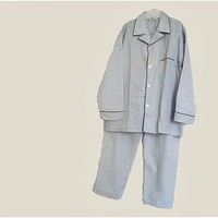 Men's Vintage Pajama Set - Cotton & Poly PJ's for Men - Large Pajamas