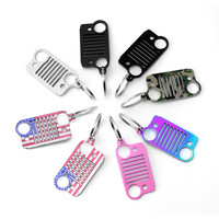 2017 Style American flag Stainless Steel Grill pink Key Chain, Car Key Chain Key Rings for Jeep CJ JK, TJ, YJ XJ Free shipping