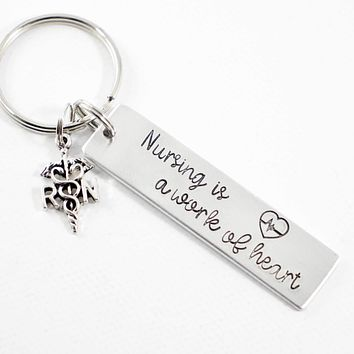"""Nursing is a Work of Heart"" Keychain with RN Charm"