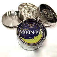 "Moon Pie Brand Vintage Ad Sign Snack 3 Piece Silver Alumium Grinder 2"" Wide Lookout"