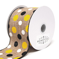 Polka Dots Natural Linen Ribbon Wired Edge, Yellow/Black/White, 2-1/2-Inch, 10 Yards