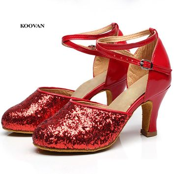 Koovan Women Dance Shoes 2017 New Fashion Dancing Woman Shoes High Heel Bling Silver Golden Genuine Leather Heel 3.5-5.5cm