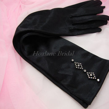 Gloves, Black stretchy satin gloves with rhinestone motifs
