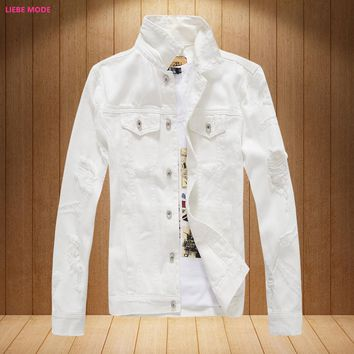 Mens Denim Jackets and Coats Korean Fashion Men's Ripped Jeans Bomber Jacket Male Brand Clothing Black White Red Pink XXXL