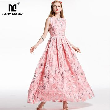 New Arrival 2018 Women's O Neck Sleeveless Appliques Sequined Floral Elegant Designer Party Prom Long Ball Gown Runway Dresses