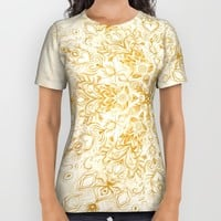Sepia Snowflake Doodle All Over Print Shirt by Micklyn