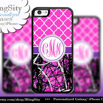 Hot Pink Monogram iPhone 5C 6 6 Plus Case iPhone 5s Ipod 4 5  Real Tree Camo Purple Quatrefoil Personalized Country Girl