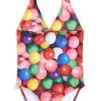 Girl's Zara Terez 'Gumballz' One-Piece Halter Swimsuit