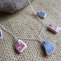 Scottish sea pottery necklace... sea pottery necklace in blue and red 22'' sterling chain, sea pottery necklace, mermaids tears necklace