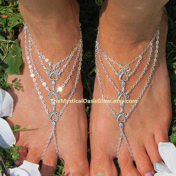 Beach Wedding Barefoot Sandals, Pair, Heart, Beach Jewelry, Beach Wedding Sandals, Barefoot Jewelry, Sandal, Beach Sandals, Bridal Sandals