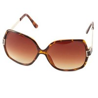 Brown Metal & Plastic Oversized Sunglasses by Charlotte Russe