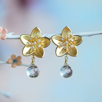 Cherry blossom jewelry, Cherry blossom earrings, Crystal bridal jewelry, Spring wedding, Gold stud earrings, Gold flower earrings