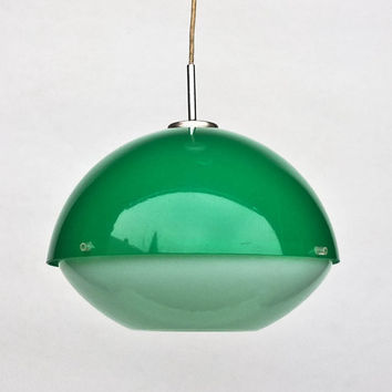 Vintage Atomic Ceiling Light /  Adjustable Space Age Ceiling Lamp Pendant Lamp / 70's Retro Home Decor / Green
