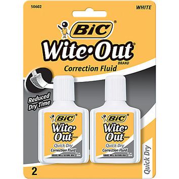 BIC® Wite-Out® Quick-Dry Correction Fluid, 20 mL Bottles, Pack Of 2 Item # 903598