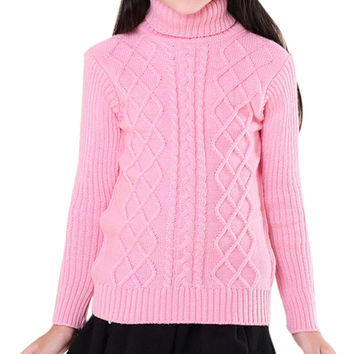 Wild and classic style Boys and girls knitted turtleneck sweaters Thread design Exquisite elastic clothes hem Winter essential