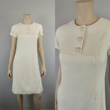 Vintage 1950s Leslie Fay Ivory Secretary Shift Dress Sheath Mad Men Wiggle Linen Blend Day Dress