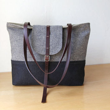 2-Tone Tote in Herringbone Wool and Leather // Charcoal Gray // Organic Cotton Canvas Lining