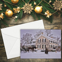 """Greeting Card, Christmas Card, Vintage Christmas, Fine Art 5""""x7"""", Card, Greeting Cards, Note Cards, Paper Goods, Xmas Card"""