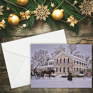 "Greeting Card, Christmas Card, Vintage Christmas, Fine Art 5""x7"", Card, Greeting Cards, Note Cards, Paper Goods, Xmas Card"