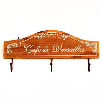 Retro Vintage Home Decor Wood Clothes Hat Bag Hanger Hook Wall Mounted