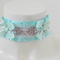 Kitten play collar - Pastel Stardust - ddlg little satin princess choker with bows - kawaii cute fairy kei violet lilac green and blue