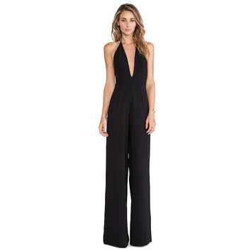 Zippers Slim Sexy V-neck Backless Jumpsuit [9108980615]