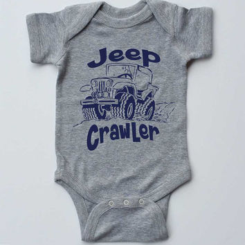 "Baby Onesuit-""Jeep Crawler""-Baby Boy Outfit-Grey Boy Onesuit bodysuit-Baby gift"
