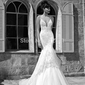 Sexy Spaghetti Straps Trumpet Mermaid Lace Wedding Dresses 2015 Applique Beads Sheer Backless Bridal Gown yk1A530