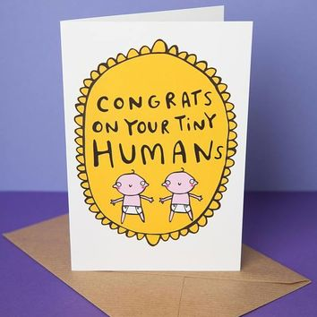 Twins Congrats On Your Tiny Humans Funny New Baby Congratulations Card Pregnancy Card Baby Shower Card FREE SHIPPING
