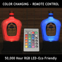 Crown Royal Color Changing LED Remote Controlled Eco Friendly rgb LED Bottle Lamp/Bar Light / Intense Sparkle-Bodacious Bottles-
