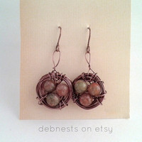 Gemstone Bird Nest Earrings with Autumn Jasper Beads and Antique Copper Wire