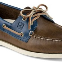 Sperry Top-Sider Authentic Original Cyclone Leather 2-Eye Boat Shoe Earth/Blue, Size 12M  Men's Shoes