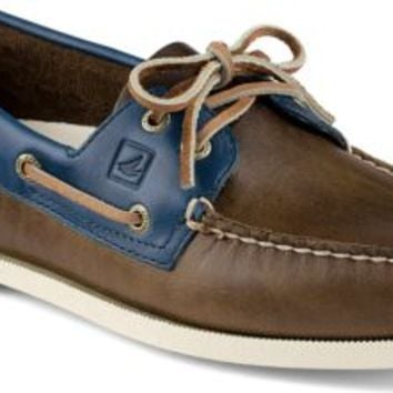 Sperry Top-Sider Authentic Original Cyclone Leather 2-Eye Boat Shoe Earth/Blue, Size 8.5M  Men's Shoes