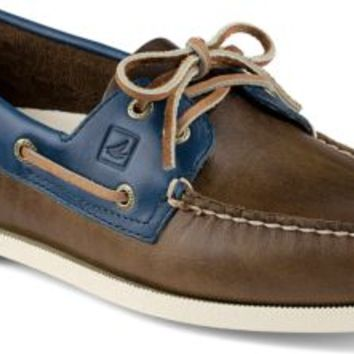 Sperry Top-Sider Authentic Original Cyclone Leather 2-Eye Boat Shoe Earth/Blue, Size 7.5M  Men's Shoes
