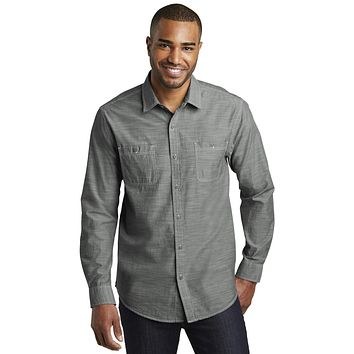Port Authority Slub Chambray Shirt. W380 - Grey - 4xl