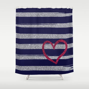Red heart on shiny silver stripes (in blue) Shower Curtain by Psychae