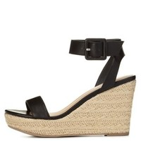 Black Ankle Strap Espadrille Wedge Sandals by Charlotte Russe