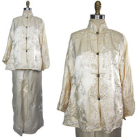 1920s to 1930s Silk Embroidered Pajamas Jacket and Trousers Early Made in China Label