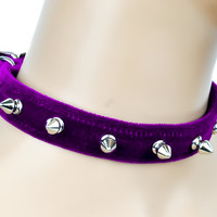 """Purple Velvet Choker Necklace with 1/2"""" Silver Spikes Gothic Collar"""