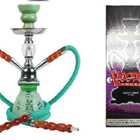 "VooDooTM 10"" Skull Design 2 Hose Small Hookah Pipe with All Accessories (Green)"