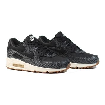 AUGUAU NIKE Women's Air Max 90 PRM - Black/Black-Sail