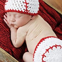 Baseball Knit Hat Outfit Set Photo Prop - CCA72