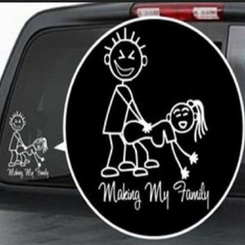 Free shipping - Making my family Vinyl Decal / Window Sticker Stick Figure Sexy Bad Car Decal
