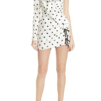 Self-Portrait Star Print Ruffle Detail Dress | Nordstrom