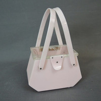 1950s Purse Lucite & Baby Pink Plastic, Clear Carved Lucite Top, Double Handle, Vintage Box Purse Handbag